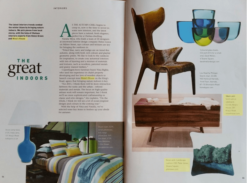 Sloane Square Magazine October 2014. Featured: TESA sideboard and ESGRIMA console. (2/3)