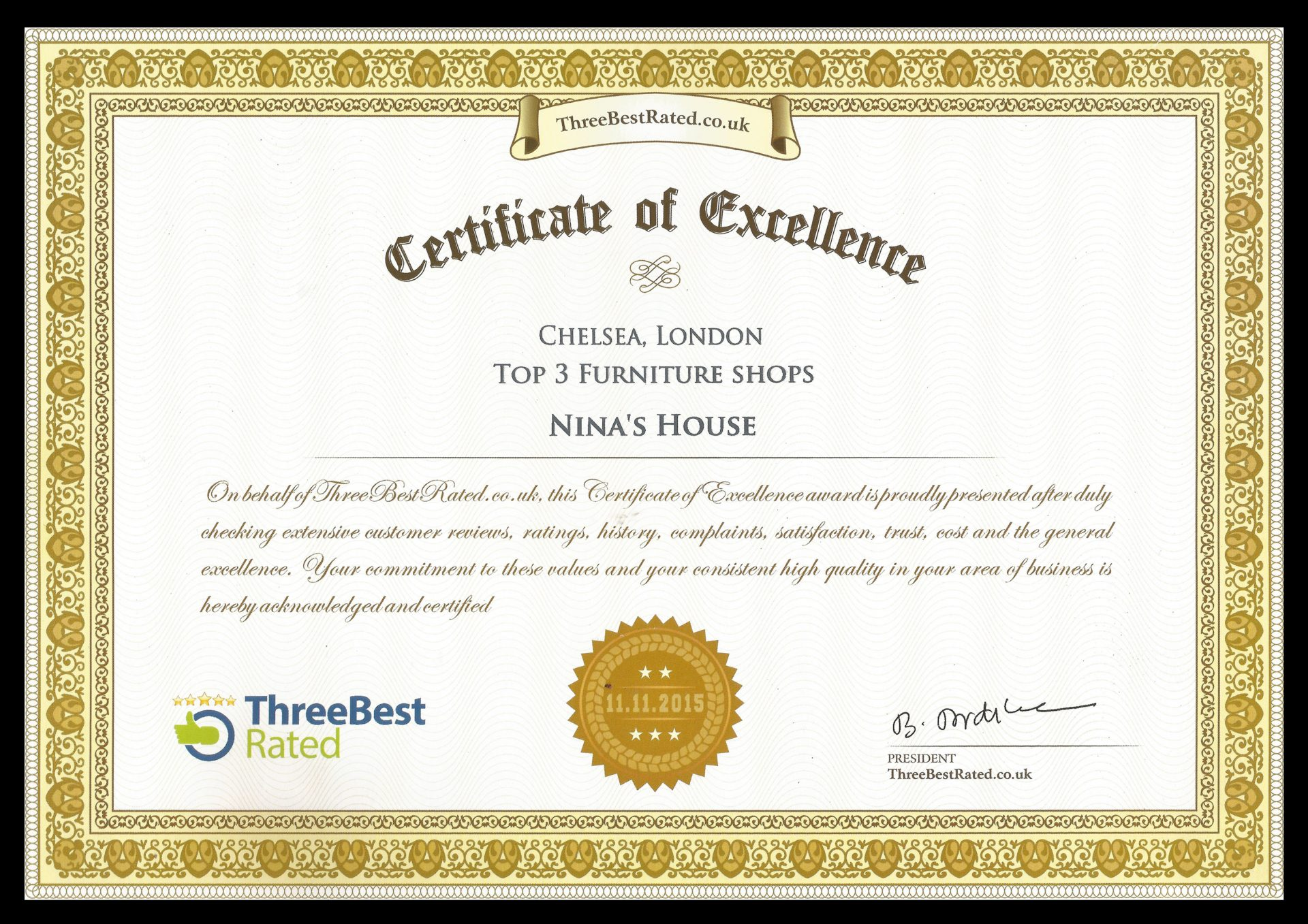 Three Best Rated Certificate 2015